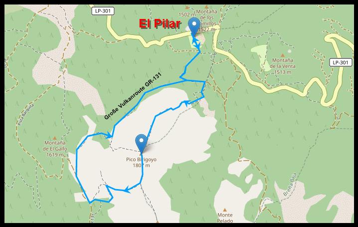 Wegstrecke zum Birigoyo