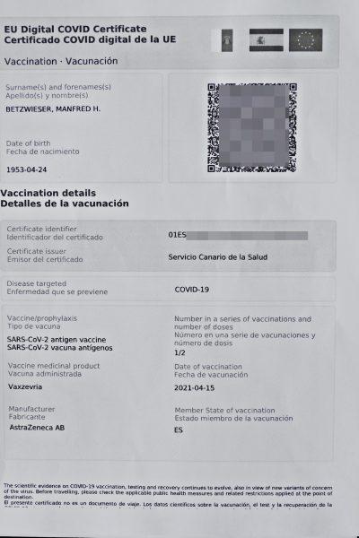 Corona Zertifikat - Impfnachweis